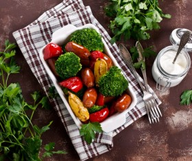 Vegetables with sausage Stock Photo 01
