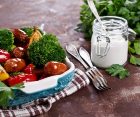 Vegetables with sausage Stock Photo 02