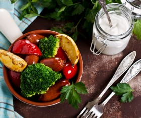 Vegetables with sausage Stock Photo 03