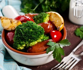 Vegetables with sausage Stock Photo 04