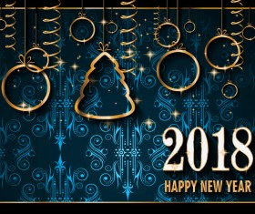 Vintage 2018 new year background goden decor vector 01