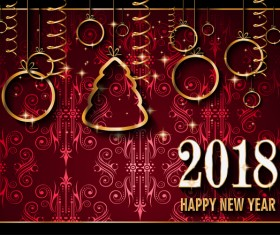 Vintage 2018 new year background goden decor vector 02
