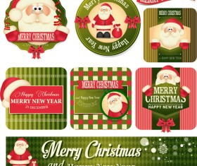 Vintage christmas labels with badge and banner vector