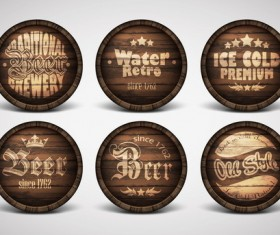 Vintage covers casks labels vector 02