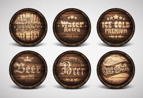 Vintage covers casks labels vector 02