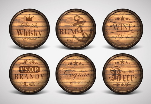 Vintage covers casks labels vector 03