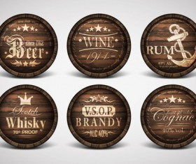 Vintage covers casks labels vector 04
