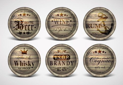 Vintage covers casks labels vector 05