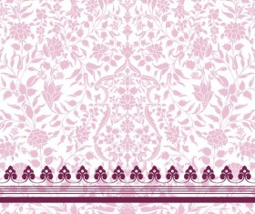 Vintage decorative pattern with floral seamless border vector 02
