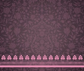 Vintage decorative pattern with floral seamless border vector 03