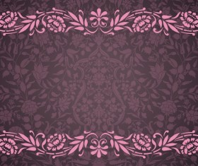 Vintage decorative pattern with floral seamless border vector 05