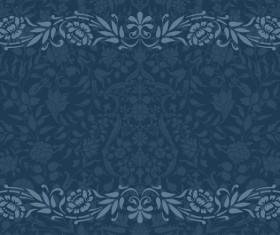 Vintage decorative pattern with floral seamless border vector 06