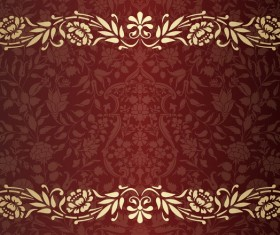 Vintage decorative pattern with floral seamless border vector 07