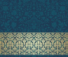 Vintage decorative pattern with floral seamless border vector 12