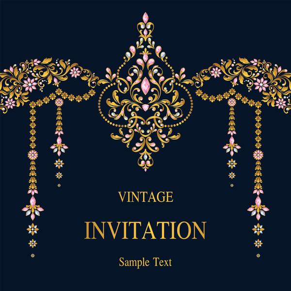Vintage invitation card template luxury vector 10 vector card vintage invitation card template luxury vector 10 stopboris Image collections