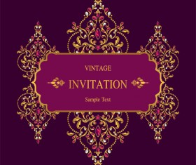 Vintage invitation card template luxury vector 12