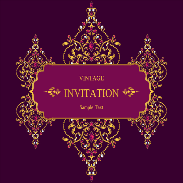 Vintage Invitation Card Template Luxury Vector   Vector Card Free
