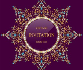 Vintage invitation card template luxury vector 13