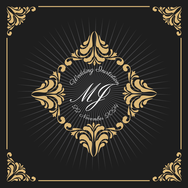 Vintage luxury frame with label template vector 04