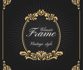 Vintage luxury frame with label template vector 06