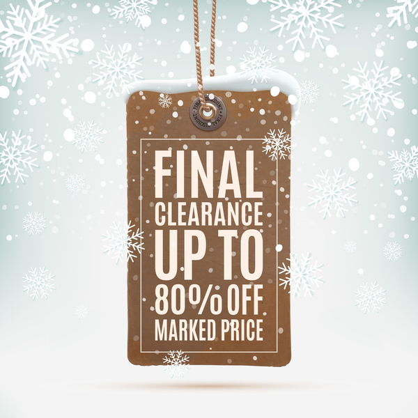 Vintage marked price labels with snow background vector