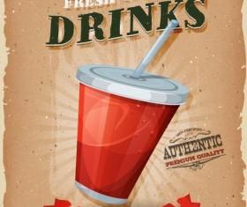 Vintage snack poster soda vector