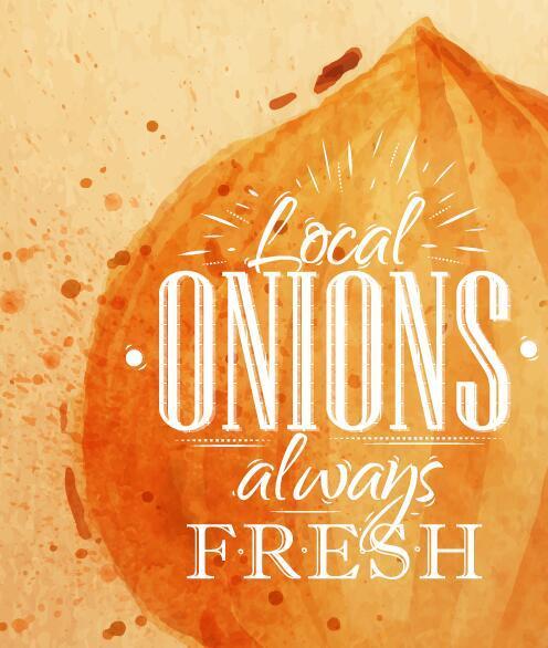 Watercolor drawn onions vector