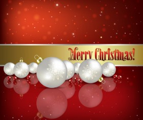 White Christmas decorations with red background vector