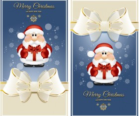 White bows with blue christmas cards vector