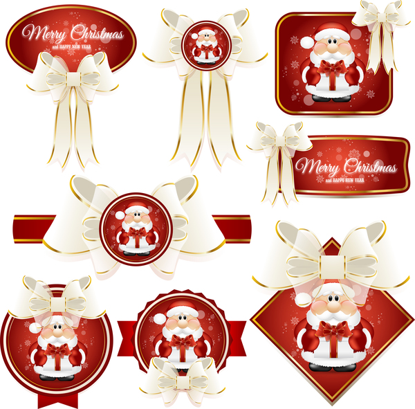 White bows with red christmas labels vector set