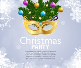White snowflake with christmas party poster vector template