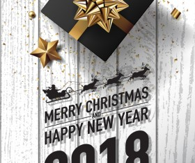 White wood 2018 new year and christmas card vector