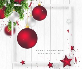 White wooden christmas background with red christmas balls vector