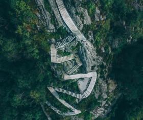 Winding mountain climbing route Stock Photo