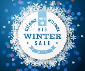 Winter big sale and snowflake frame vector