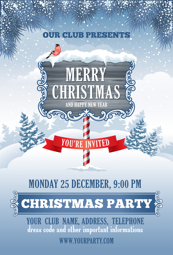 Winter christmas with new year party flyer template vector