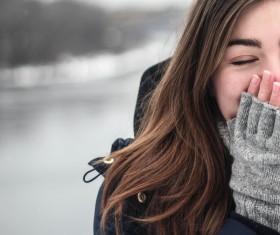Winter girl in gloves Stock Photo