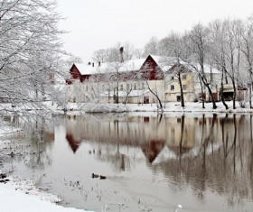 Winter lake snow scene Stock Photo