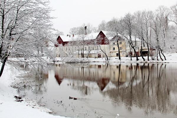 Winter lake snow scene Stock Photo