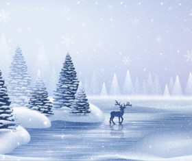 Winter landscape with deer vector material