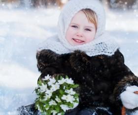 Winter outdoors little girl Stock Photo 01