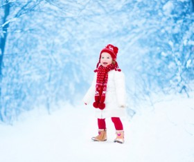 Winter outdoors little girl Stock Photo 02