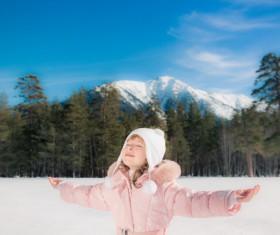 Winter outdoors little girl Stock Photo 03