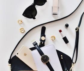 Woman luxury personal stuffs Stock Photo