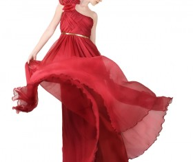 Woman wearing red Evening Dress Stock Photo