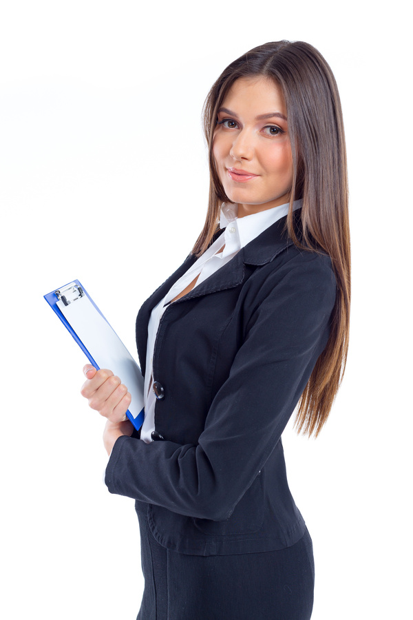 Businesswoman holding clipboard with blank sheet of paper