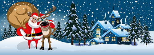 Xmas banner and santa claus jerry vector 02