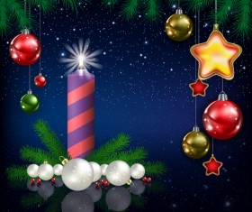 Xmas baubles with decor and blue christmas background vector 04