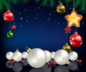Xmas baubles with decor and blue christmas background vector 06