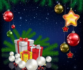 Xmas baubles with decor and blue christmas background vector 07
